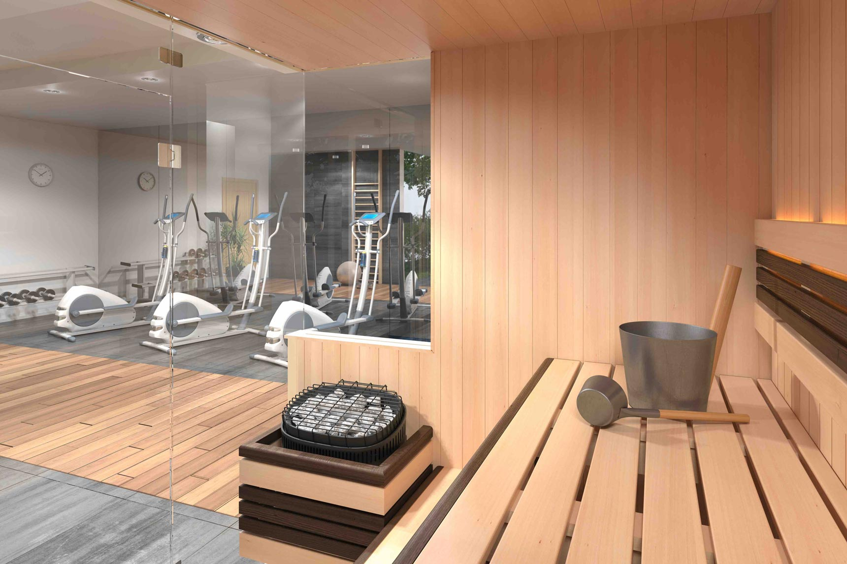 sauna with exercise equipment