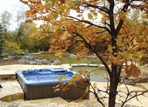 hot tub in fall weather