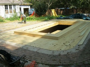 spa installation in backyard