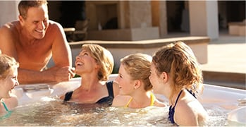 Family laughing in a spa