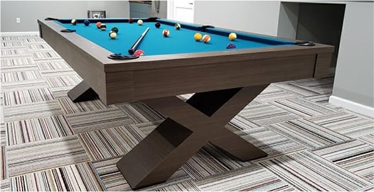 A floor display pool table