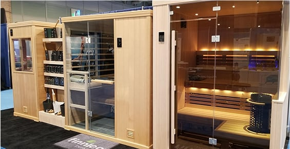Floor display saunas