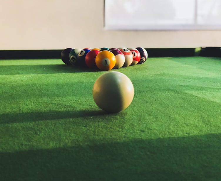 Green topped pool table